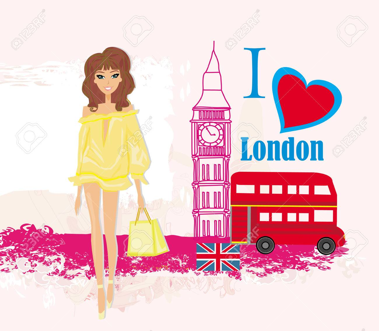 Beautiful woman in London , abstract card with icons of London