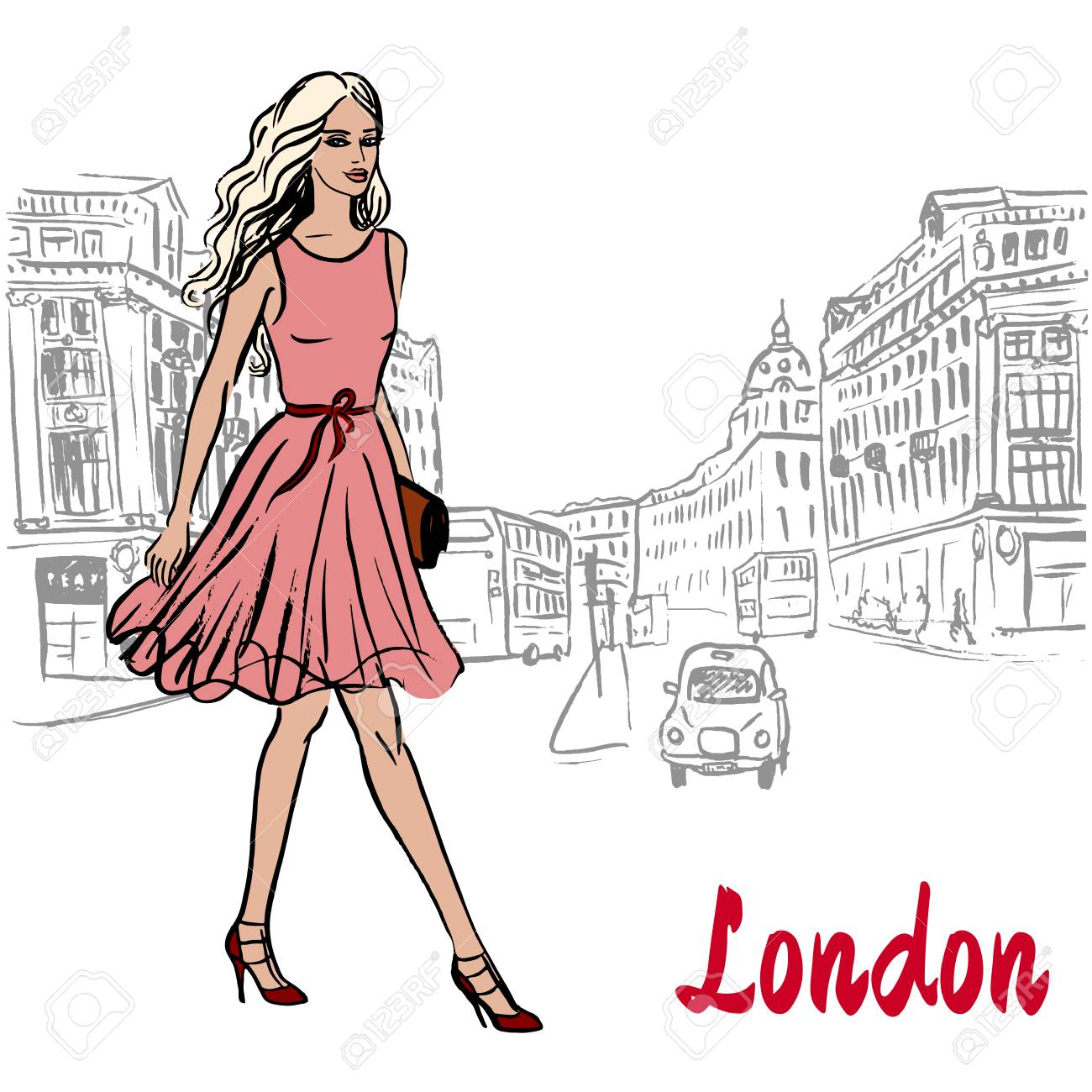 Woman walking in London